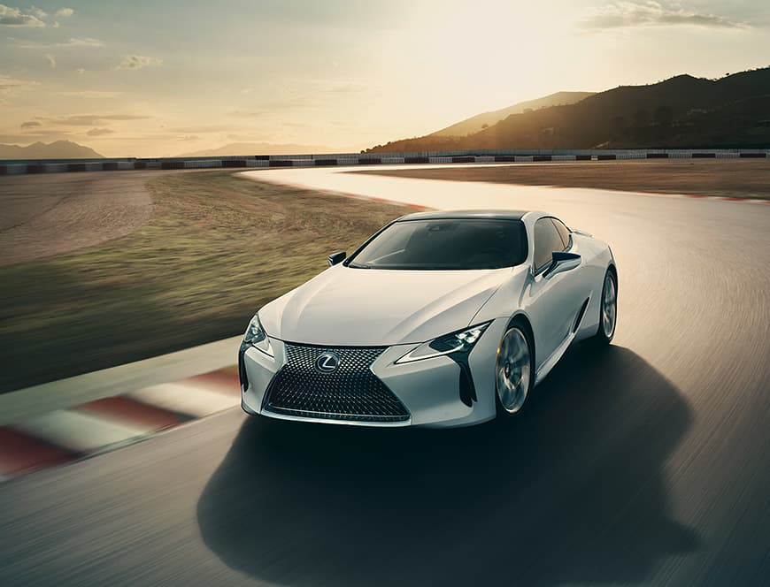 Lexus LC shown in Ultra White.