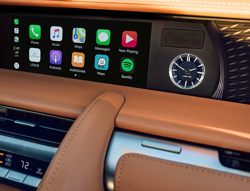 Lexus LC interior featuring Apple CarPlay.