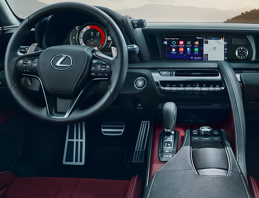Interior of the Lexus LC 500 showing the driver-centric cockpit.