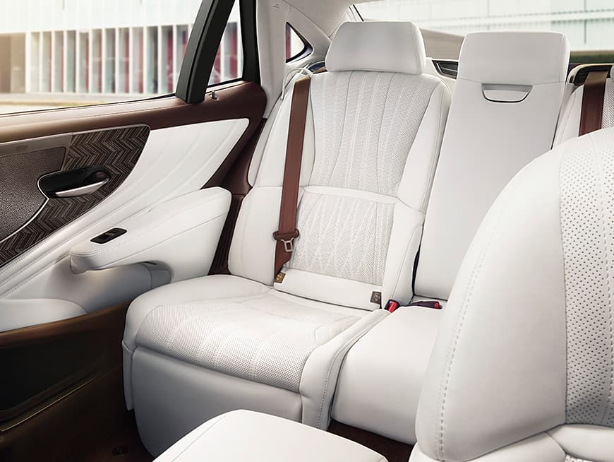 Interior of the Lexus LS shown in White leather with Art Wood Herringbone trim.