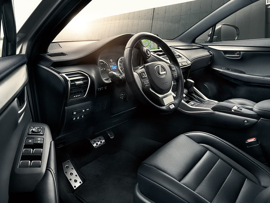Lexus NX F SPORT interior shown with Black leather interior.