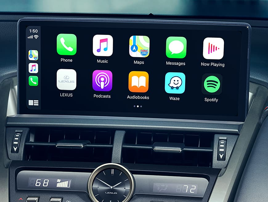 Lexus NX F SPORT interior shown with Apple CarPlay featured on the multimedia display.