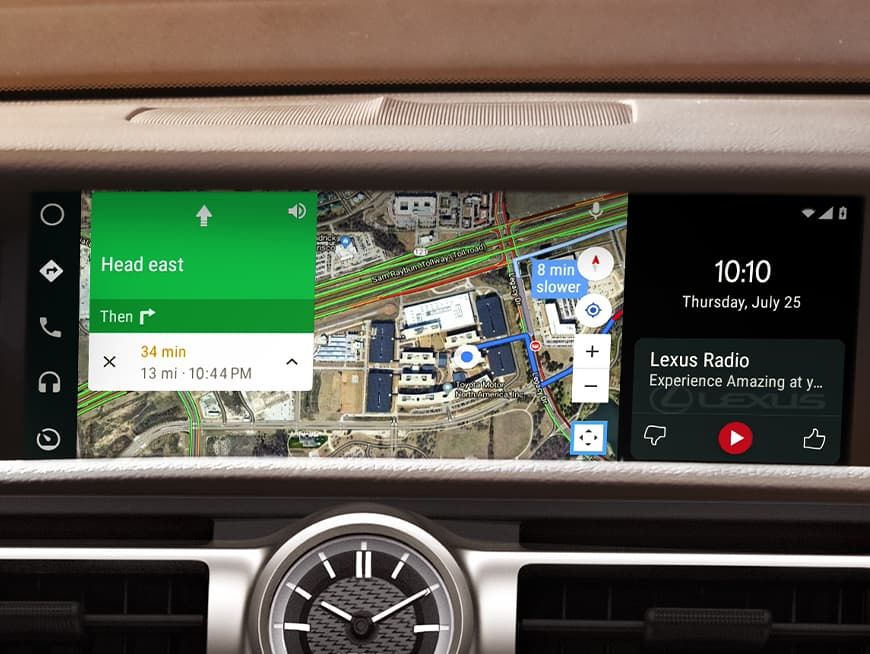 Interior of the Lexus RC showing Android Auto on the multimedia display