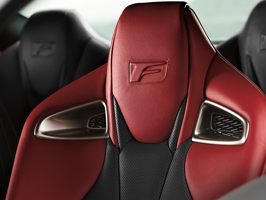 2020 RC F high-back sport seats shown with Circuit Red interior trim.