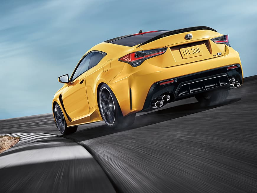 2020 RC F shown in available Flare Yellow.