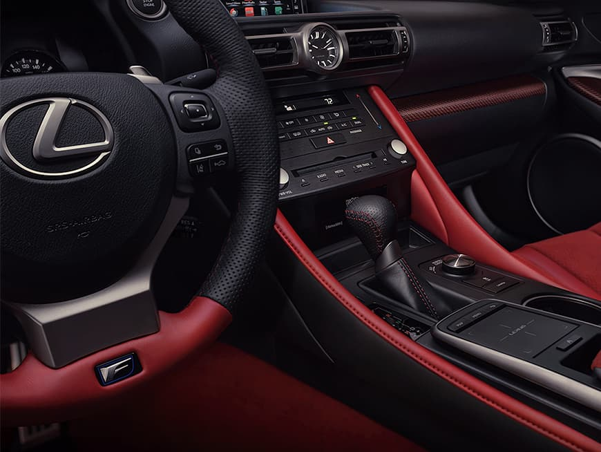 2020 RC F Track Edition shown with Circuit Red Alcantara and Red Carbon Fiber interior trim.
