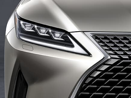 Lexus RX shown with available Premium Triple-Beam headlamps.