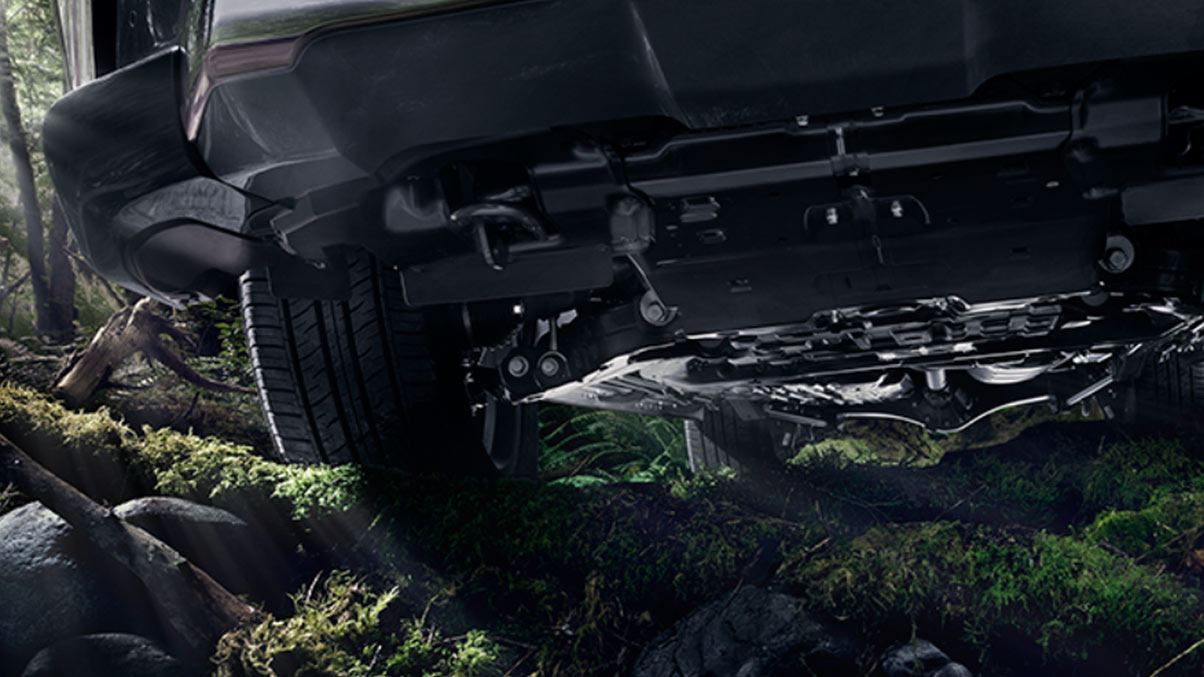 Exterior shot of the Lexus LX undercarriage.