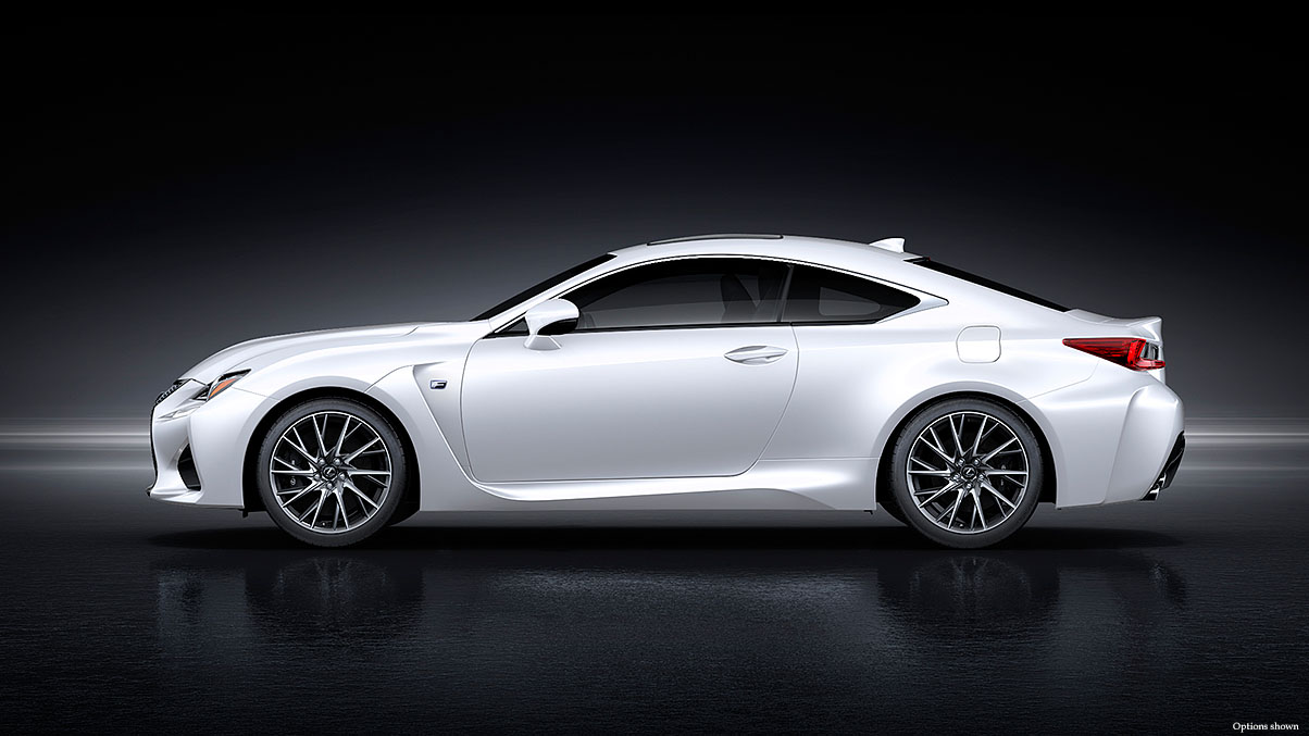 Exterior shot of the 2017 Lexus RC F shown in Ultra White.