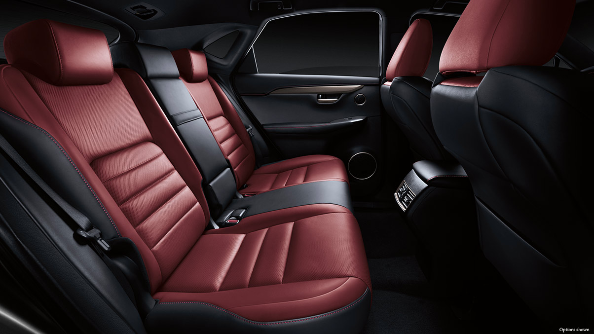Interior shot of the 2017 Lexus NX F Sport shown in Rioja Red NuLuxe trim