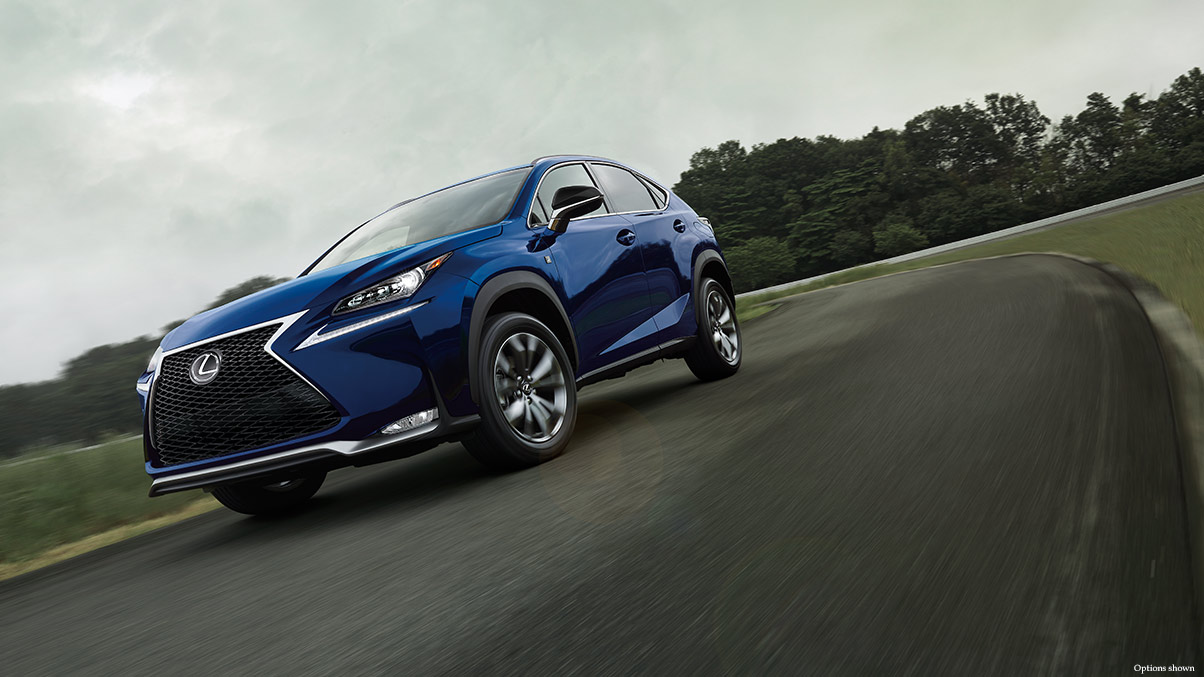 Exterior shot of the 2017 Lexus NX F Sport shown in Ultrasonic Blue Mica 2.0