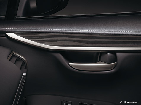 Interior shot of the 2018 Lexus NX shown with Linear Black Shadow wood trim