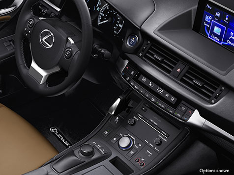 Interior shot of the 2017 Lexus CT shown with Caramel NuLuxe trim.