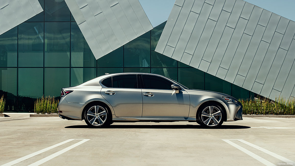 Exterior shot of the 2018 Lexus GS shown in Atomic Silver