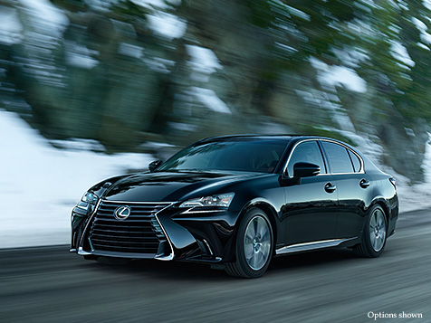 Exterior shot of the 2018 Lexus GS shown in Obsidian