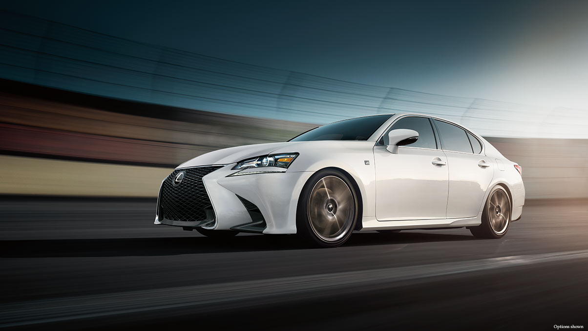 Exterior shot of the 2017 Lexus GS F Sport shown in Ultra White