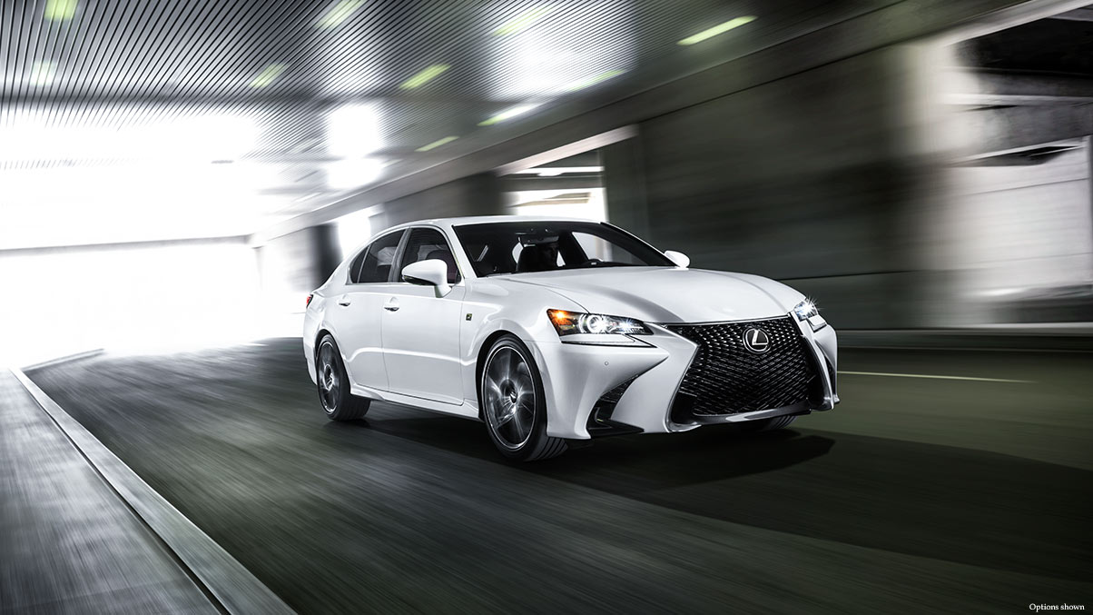 Exterior shot of the 2018 Lexus GS F Sport shown in Ultra White