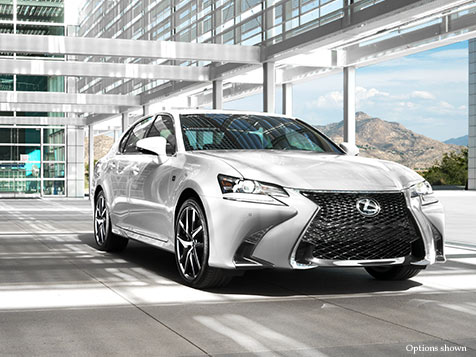 Exterior shot of the 2018 Lexus GS F Sport shown in Ultra White.