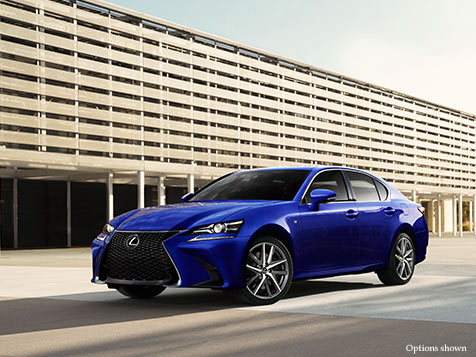 Exterior shot of the 2018 Lexus GS F Sport shown in Ultrasonic Blue Mica 2.0