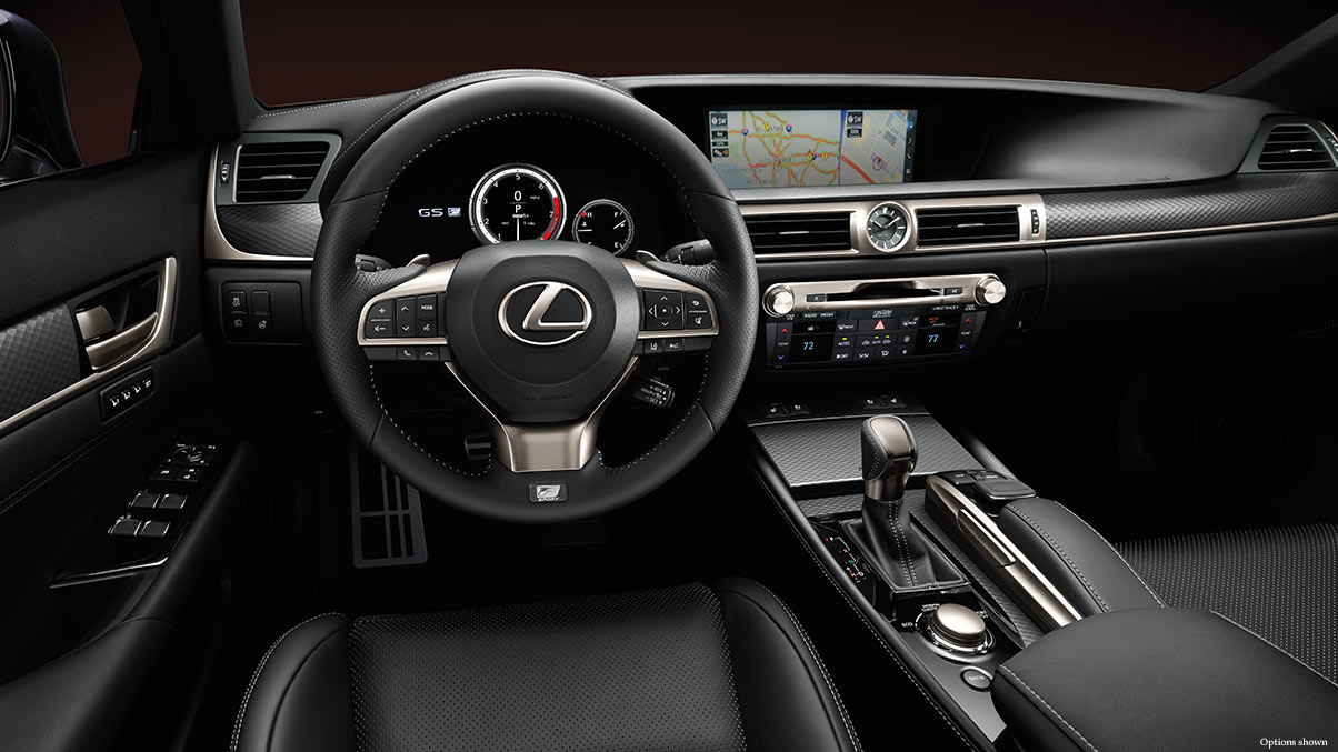 Interior shot of the 2018 Lexus GS F Sport shown with black leather trim