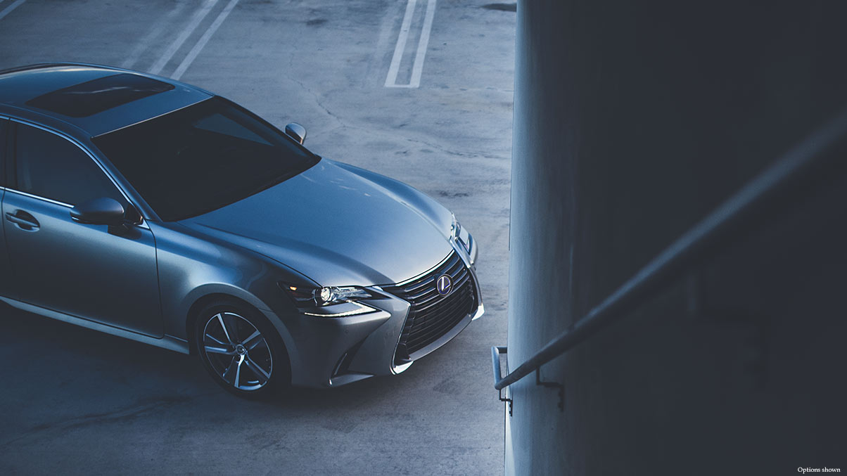 Exterior shot of the 2018 Lexus GS Hybrid shown in Atomic Silver