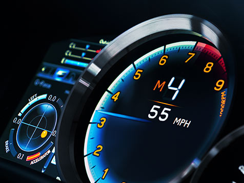 Interior of the Lexus GS F showing the performance-inspired instrumentation.