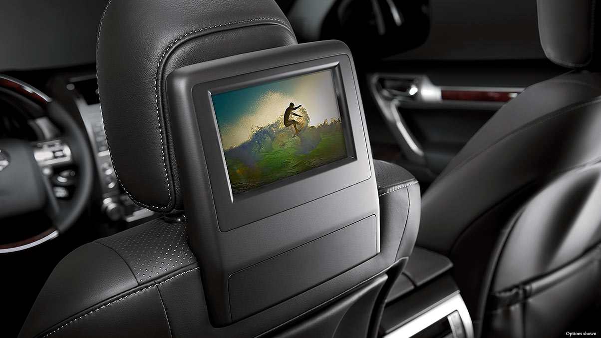 Interior shot of the 2018 Lexus GX 460 rear-seat entertainment system.