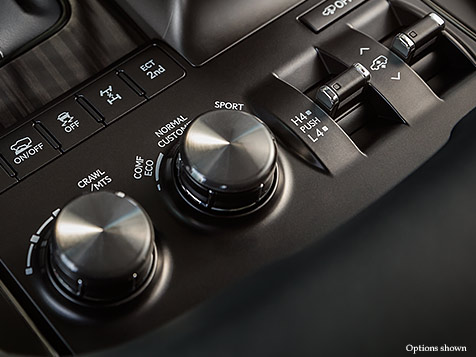 Interior shot of the 2018 Lexus LX capability controls.