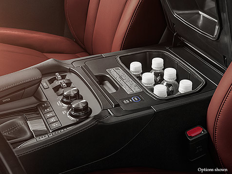 Interior shot of the 2018 Lexus LX available cool box.