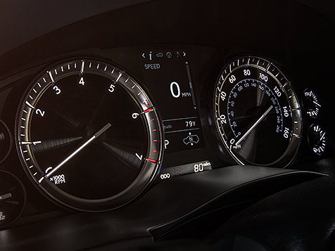 Interior shot of the 2018 Lexus LX electroluminescent gauges.