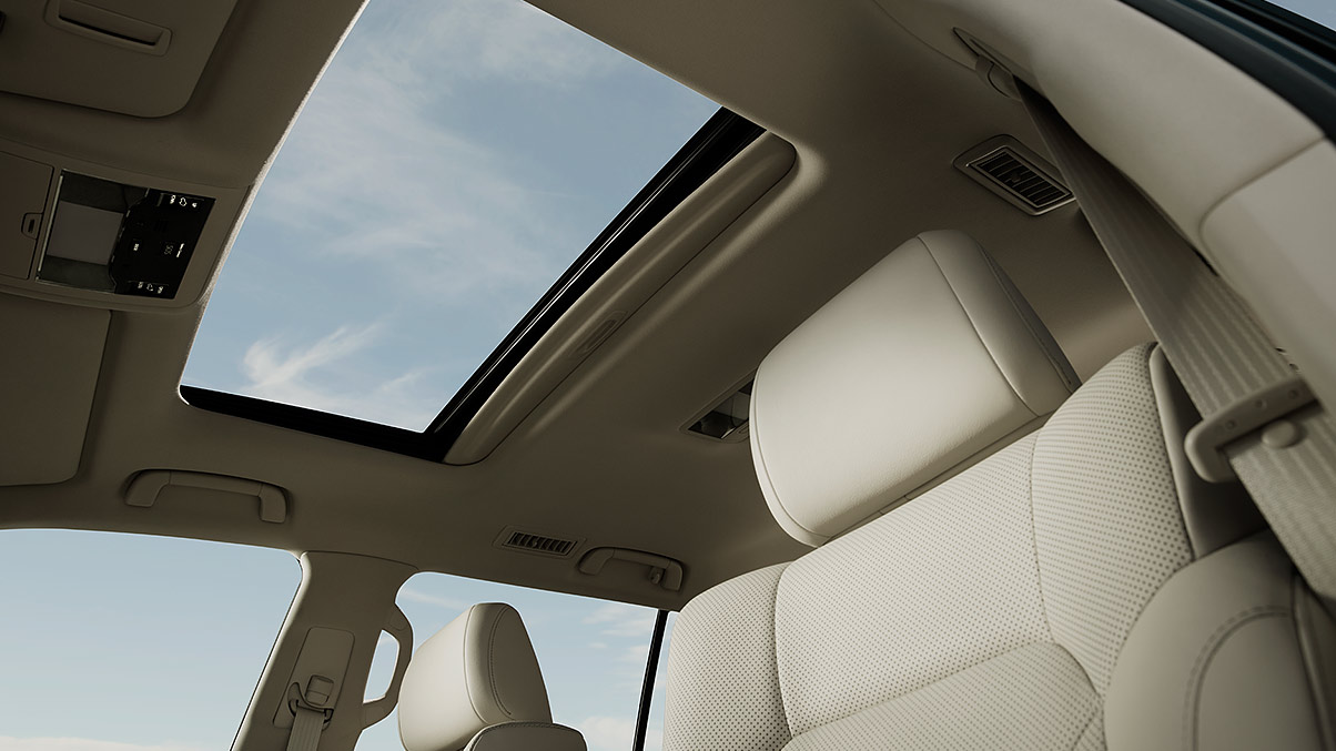 Interior shot of the Lexus LX power moonroof.
