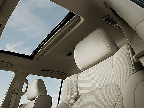 Interior shot of the 2019 Lexus LX power moonroof.