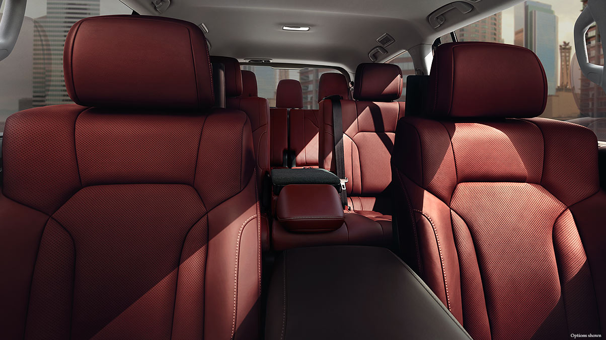 Seating for eight in three rows, shown in available Cabernet semi-aniline leather interior trim.