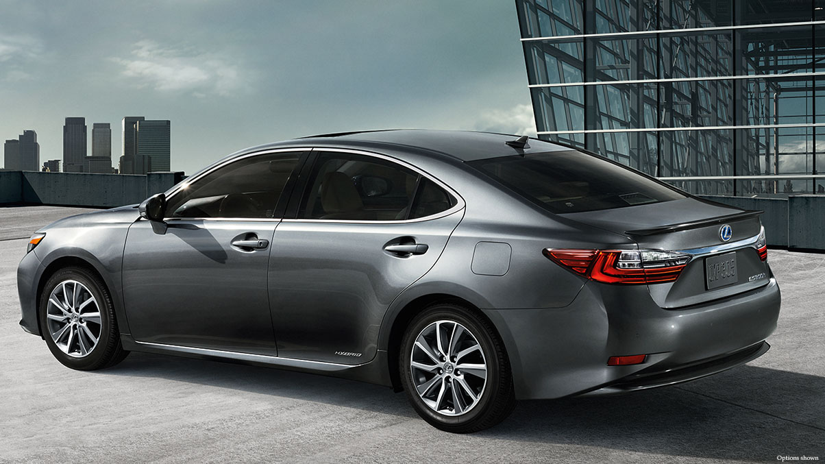 EXTERIOR shot of the 2018 Lexus ES Hybrid shown in Nebula Gray Pearl.