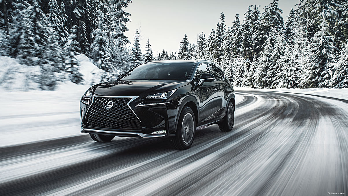 Exterior shot of the 2017 Lexus NX F Sport shown in Obsidian