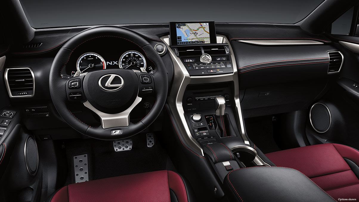 Interior shot of the 2017 Lexus NX F Sport shown with Rioja Red NuLuxe Trim