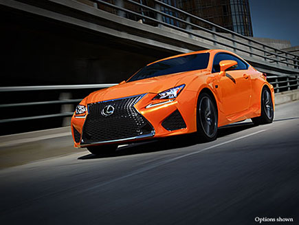 Exterior shot of the 2017 Lexus RC F shown in Molten Pearl.