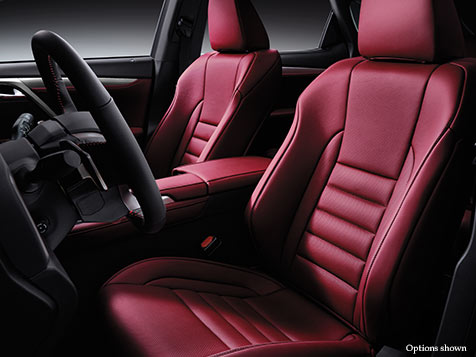 Interior shot of the 2018 Lexus RX F Sport shown with Rioja Red leather trim.