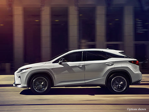 Exterior shot of the 2017 Lexus RX F Sport shown in Ultra White.