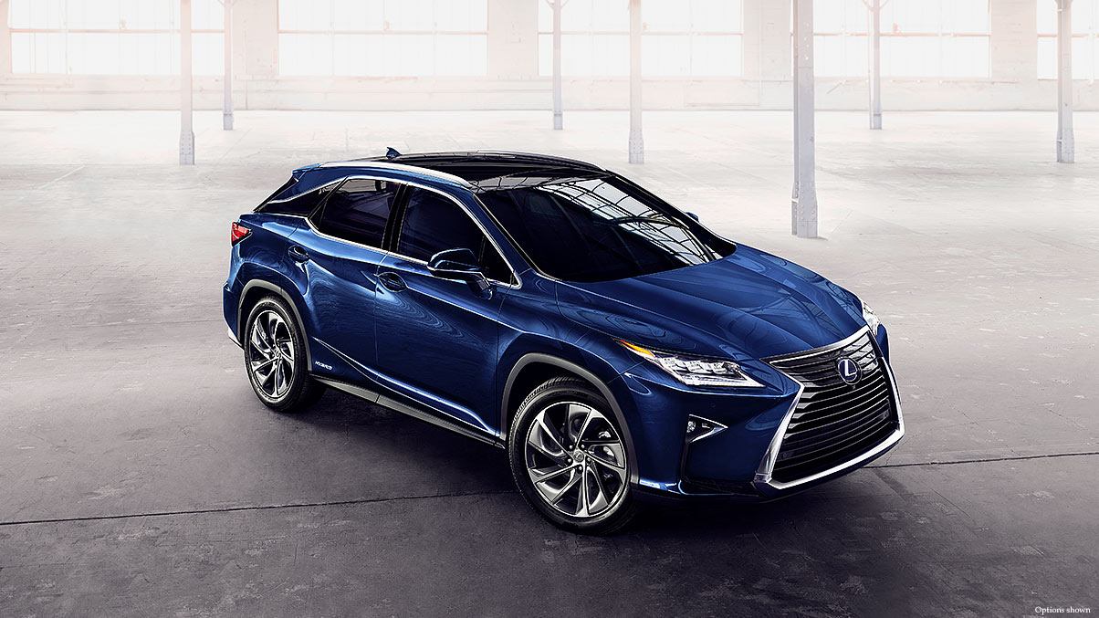 Exterior shot of the 2018 Lexus RX Hybrid shown in Nightfall Mica.