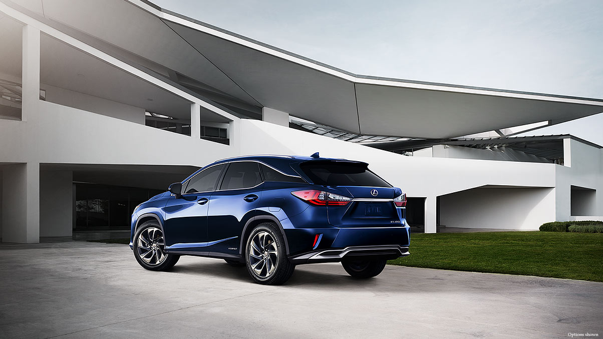 Exterior shot of the 2018 Lexus RX Hybrid shown in Nightfall Mica