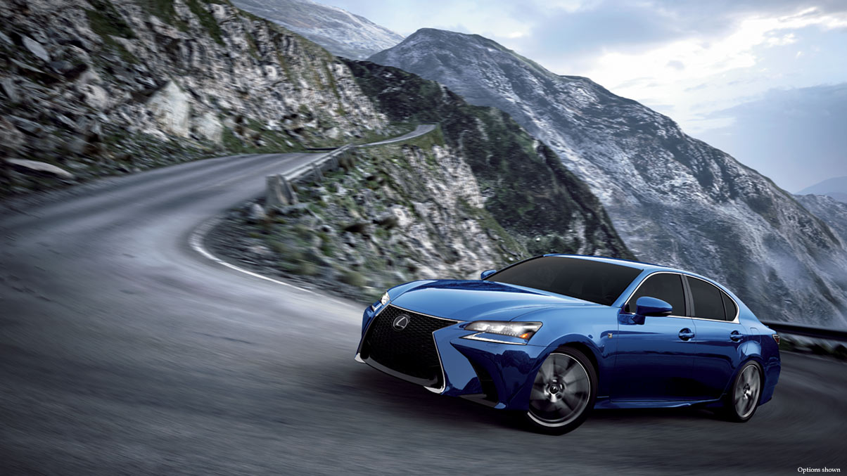Exterior shot of the 2018 Lexus GS shown in Ultrasonic Blue Mica 2.0