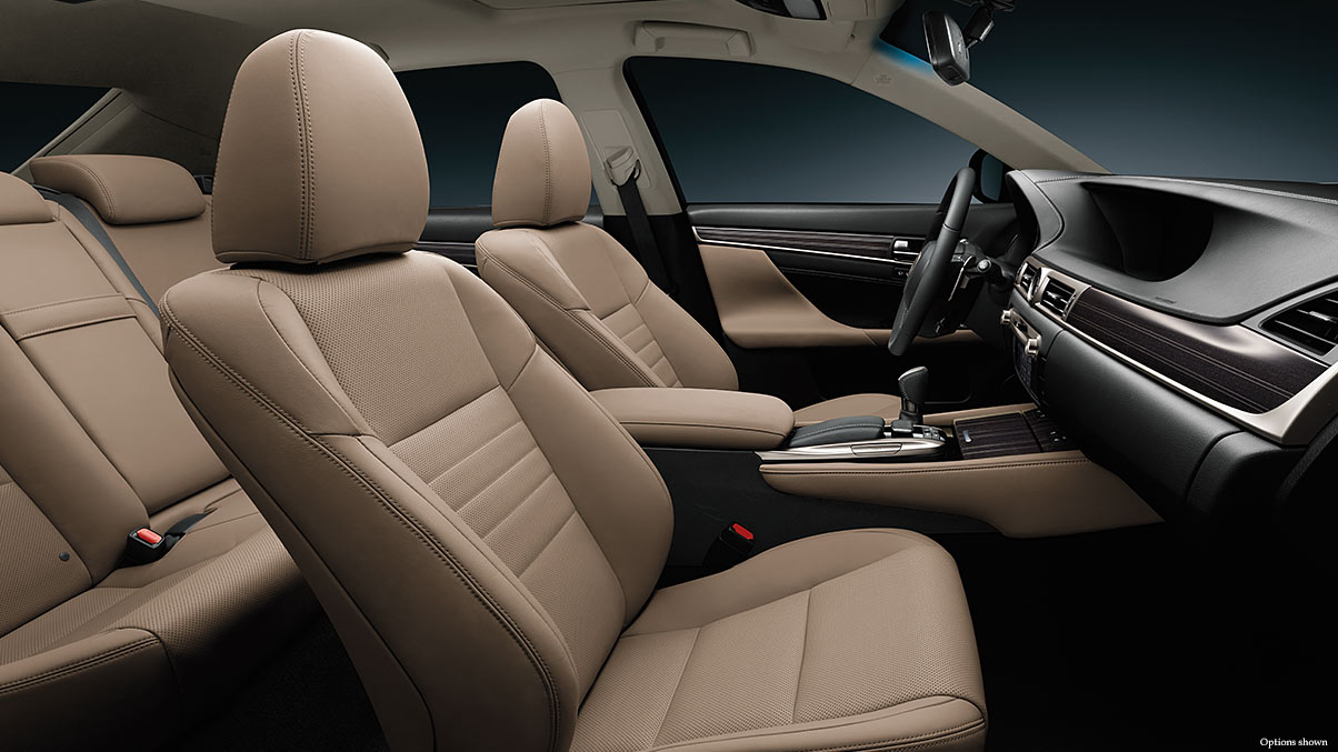 Interior shot of the 2018 Lexus GS Hybrid shown with leather trim