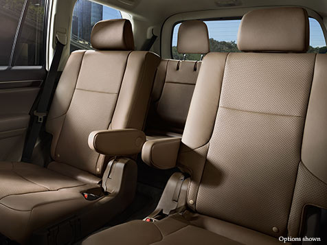 Interior shot of the 2018 Lexus GX with Sepia leather trim.