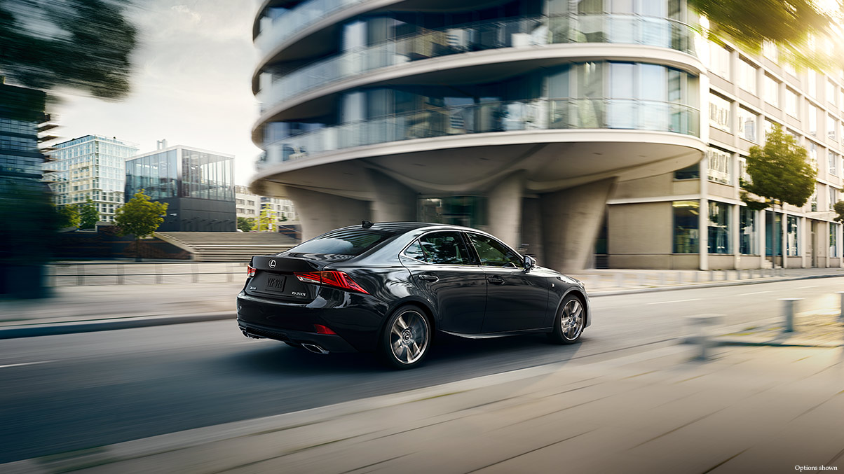 Exterior shot of the 2017 Lexus IS shown in Obsidian.