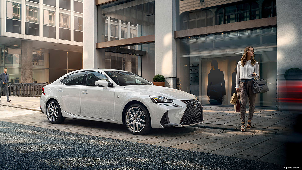Exterior shot of the 2018 Lexus IS F Sport shown in Ultra White.