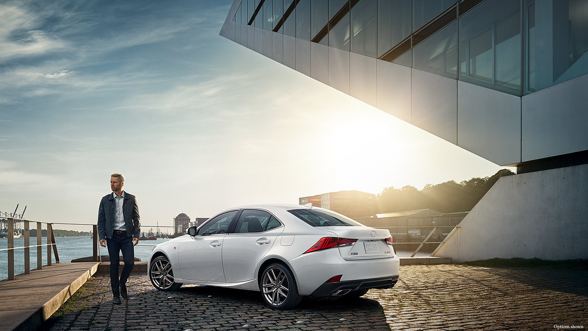 Exterior shot of the 2017 Lexus IS shown in Ultra White.