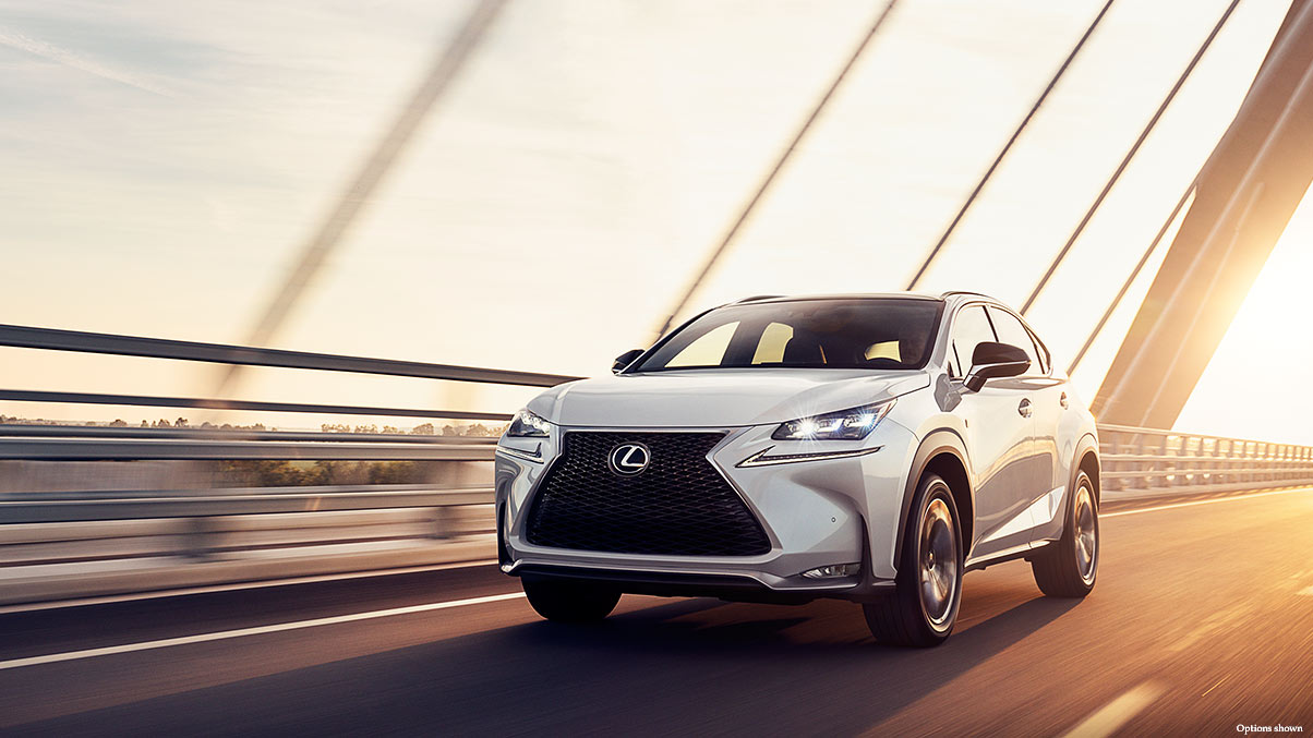 Exterior shot of the 2017 Lexus NX F Sport shown in Ultra White