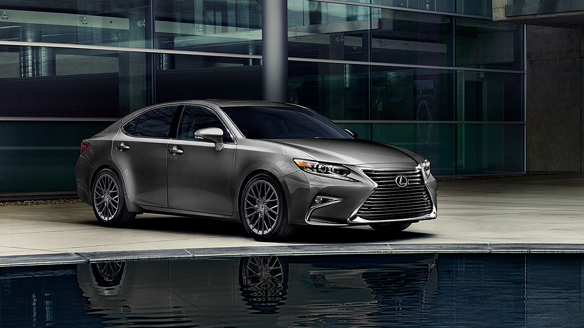 EXTERIOR shot of the 2018 Lexus ES shown in Nebula Gray Pearl.