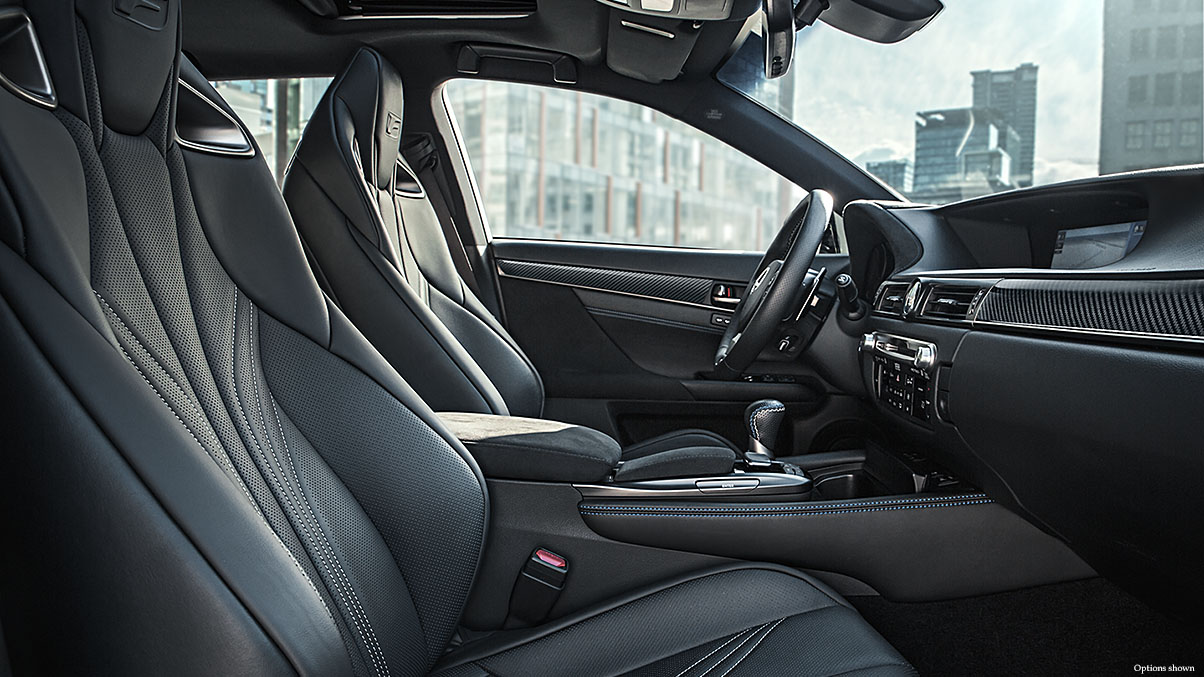 Interior shot of the 2018 Lexus GS F shown with black leather trim.